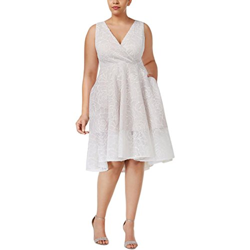 Mesh Surplice Dress - Adrianna Papell Womens Plus Floral Mesh Surplice Cocktail Dress Ivory 14W