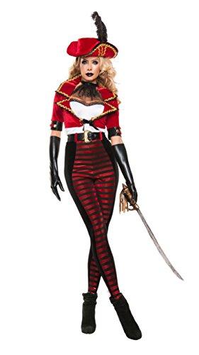 Bolero Hat Costume (Starline Women's Midnight Pirate Bolero Jacket Costume Set, Red/Black, X-Large)