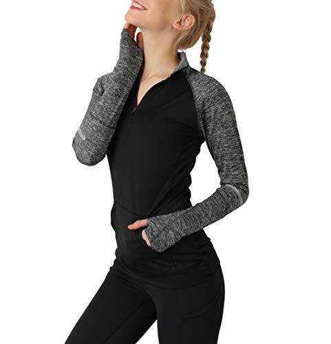 (Cityoung Women's Yoga Long Sleeves Half Zip Sweatshirt Girl Athletic Workout Running Jacket bk l)
