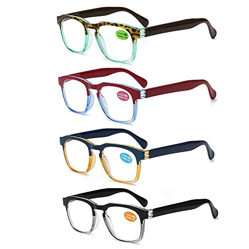 REAVEE 4 Pack Colorful Reading Glasses Large Readers Two-Tone Fashion Stylish Design Quality Spring Hinge Plastic Frame Prescription ()