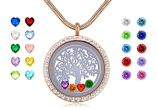- beffy 18k Gold Family Tree of Life Stainless Steel Locket Pendant, Floating Charms Living Memory Locket Necklace with 24pcs Birthstones, Best Gifts for Women Girls