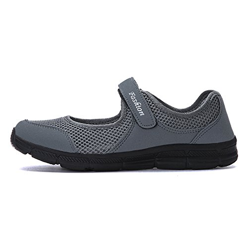 Zapatillas 42 Calzado de Mujer Gris Gimnasia Zapatos para Ligero para Sneakers Correr Deportivos 35 Running Gris Verano Negro Malla de 44wxUrq