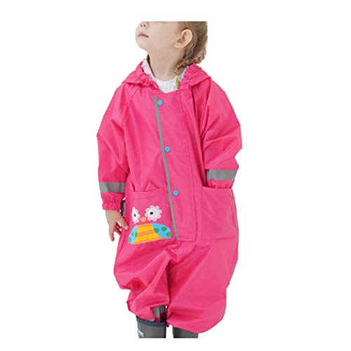Unisex Raincoats Jacket With Hood, Waterproof And Windproof For Girls And Boys One Piece Raincoats (Hot Pink, L)