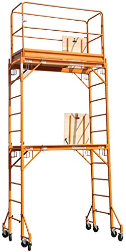 Rail Lock Guard (CBM Multipurpose Maxi Square Baker Style Scaffold Tower Package - 12 Feet, 1,000 Pound Capacity With Hatch Deck Guard Rail and Double U Lock)