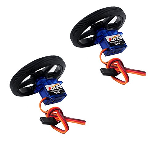 Feetech FS90R Micro Servo, RCmall 360 Degree Continuous Rotation RC Servo 6V 1.5KG with Wheel (2PCS Pack)
