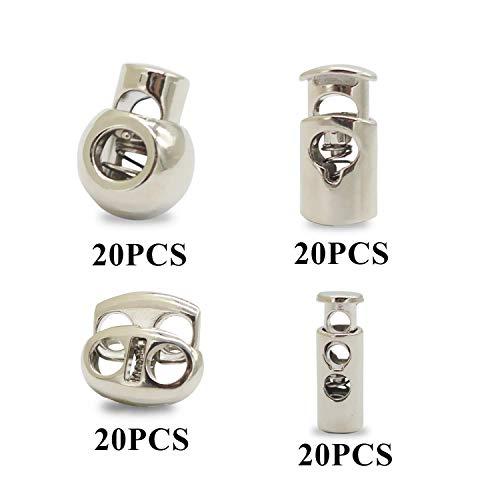 (PHAETON 80PCS Metal Professional DIY Silver Spring Fastener Cord Lock Toggle Stopper Buttons Fastener Slider FineGood End )