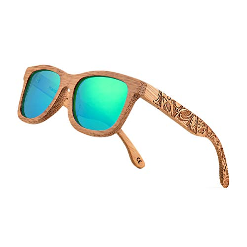 (Bamboo Wood Polarized Sunglasses For Men & Women -Temple Carved Collection (TA02- Carbonized Bamboo Frame Green Lens) )