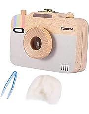 Baby Storage Box Wooden Camera-Pattern Treasure Memory Storage Box Case for Baby Milk Teeth and Baby Hair (C) Durable design