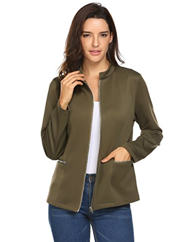 Concep Womens Lightweight Thin Cardigan Office Blazer Zipper Jacket Plus Size (Army Green)