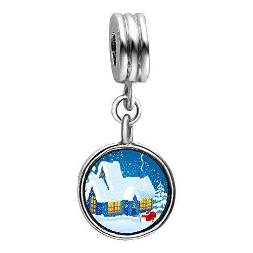 In the snowy Christmas House Light Amethyst Crystal June Birthstone Flower Dangle Charm Bracelets
