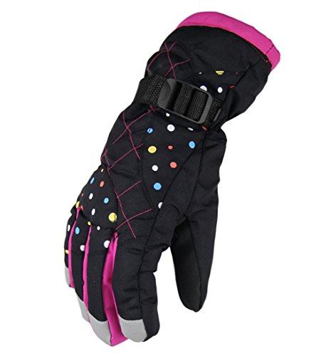 WATERFLY Fashion Women's Femal Warm Waterproof Winter Outdoor Glove Cycling Gloves Biking Gloves Snowmobile Snowboard Ski Gloves Athletic Gloves Mittens (Black)