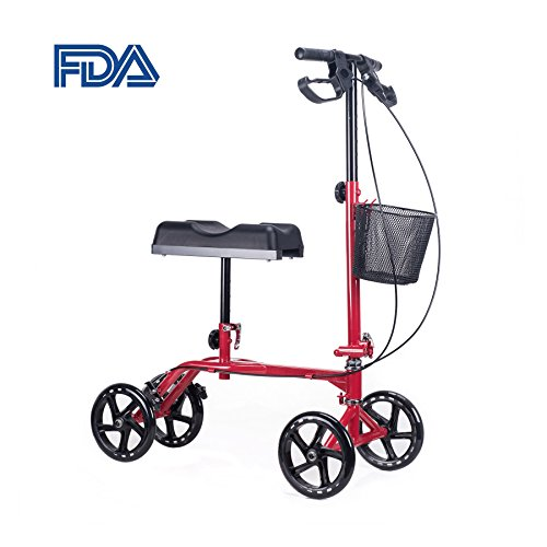 CO-Z Upgraded Dual Brake Steerable Knee Scooter with Ergonomic Cushion, Foldable Portable Walker for Adult Kids Foot Ankle Leg Injury, Red Adjustable 8
