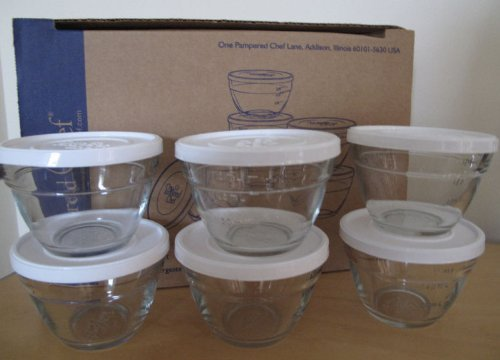 Chefs Glass Bowl - Pampered Chef Set of 6 Prep Bowls
