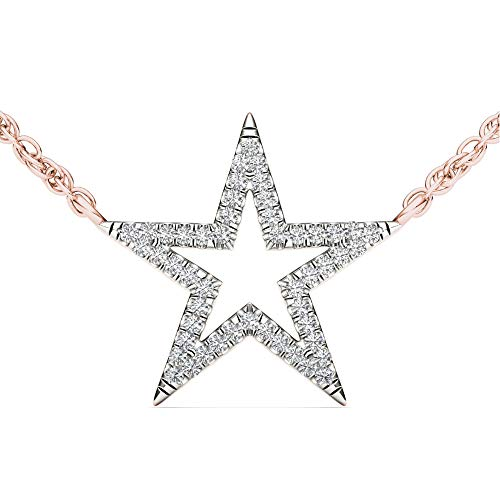 10K Rose Gold Diamond Star Pendant Necklace 18inch(0.12 ct / I2,H-I)