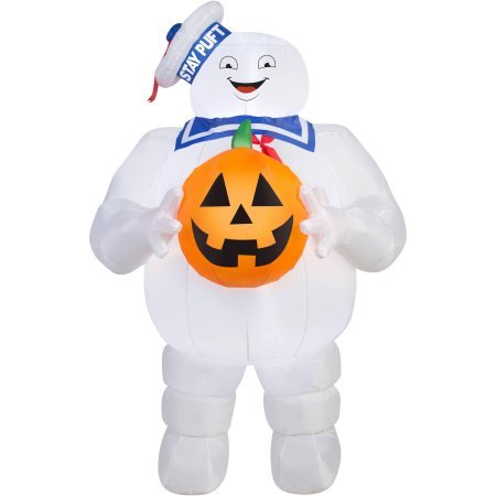 Gemmy Airblown Inflatable 5 X 3 Ghostbusters Stay Puft with Pumpkin Halloween Decoration