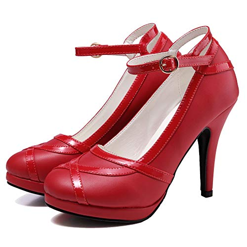getmorebeauty Women's Vintage Retro Strappy Red Prom Shoes Dress High Heels 9 B(M) US