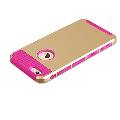 "iPhone 6 Plus Coque,iPhone 6S Plus Coque,Lantier Simple Series 2 en 1 double couche hybride dur antichoc Cover Protect pour Apple iPhone 6 Plus,iPhone 6S plus 5.5""Gold + Hot Pink"