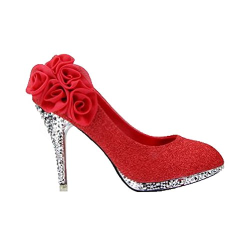Allhqfashion Womens Shiny Pumps Pull-up Pumps Schoenen Met Bloemen, Redhxff5, 34