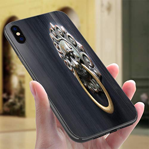 iPhone 7/8 Color casePAsian Lion Door Knocker on Black Background Resistance to Falling, Non-Slip,Soft,Convenient Protective Case