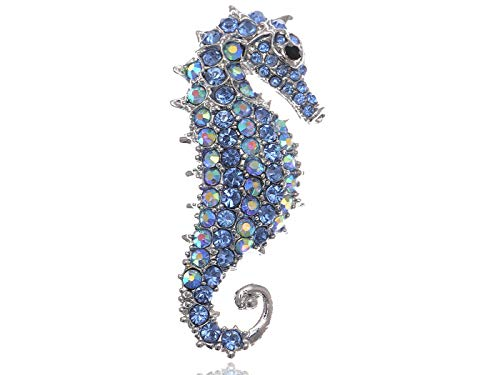 Sapphire Aurora Borealis Crystal Rhinestone Seahorse Fashion Brooch Pin Pendant