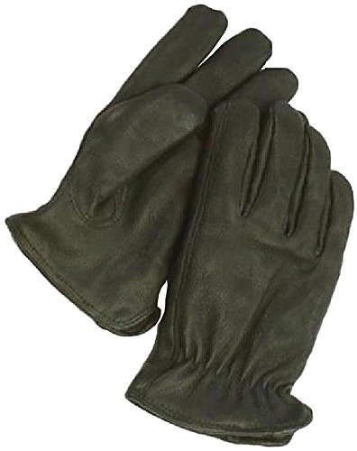 Napa Deerskin Waterproof Gloves with Thinsulate Lining (Black, Large) - Unisex Ultra Riding Gloves