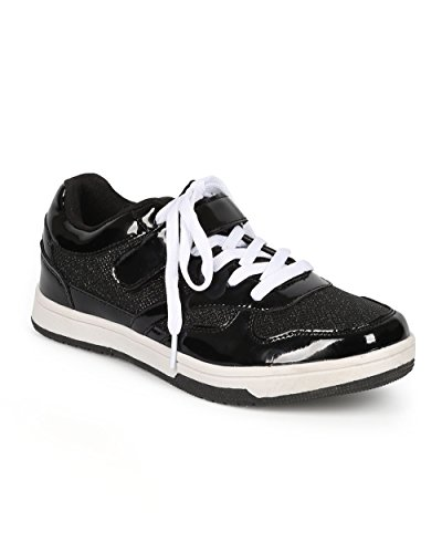 Qupid CH38 Women Patent Leatherette Glitter Lace Up Flat Sneaker - Black Patent 6cIZ00Obc2