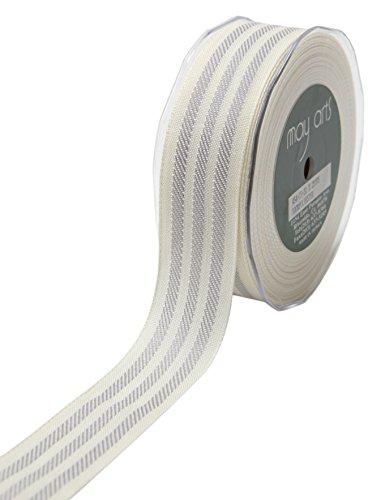 May Arts 1.25 Inch Woven Stripes Ribbon 25 yd Ivory/Grey