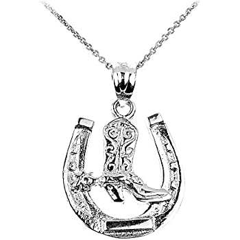 925 Sterling Silver Horseshoe with Boot Polished Charm Pendant 22mm x 18mm