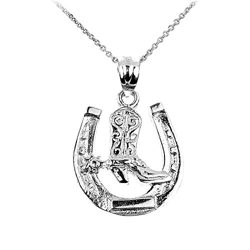 - 925 Sterling Silver Lucky Horseshoe with Cowboy Boot Charm Pendant Necklace, 16