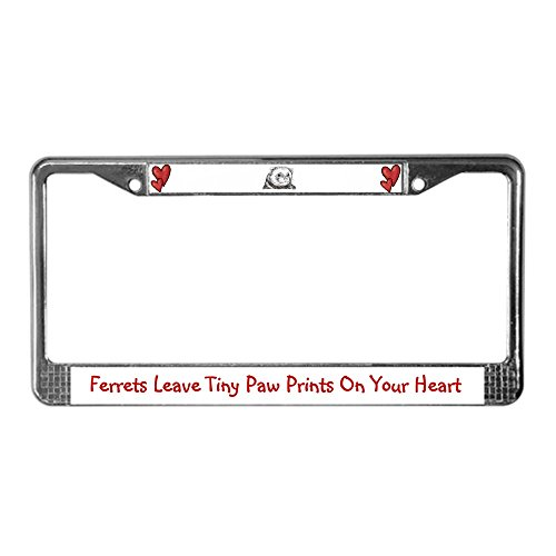 (CafePress Ferret's Leave Tiny Paw Prints License Plate Frame Chrome License Plate Frame, License Tag)