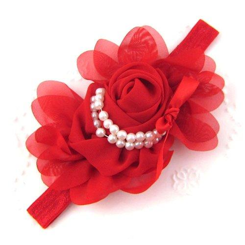 Générique Bébés filles en mousseline de soie perle Bandeau Rose Fleur Hairband Photographie Prop Band (Rouge)