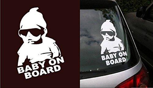 Baby On Board COOL Lustig Aufkleber Sticker Silber glänzend für Auto KFZ Fenster