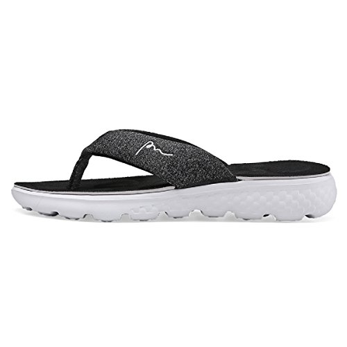 LUNGJI Women's Flip Flop Beach Slippers with Arch Support Men's Non Slip Thong Sandals for Shower (7 B(M)/5-6 D(M)=EU 37-38, Black) by LUNGJI