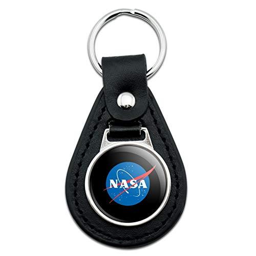 NASA Official Meatball Logo Black Leather Keychain