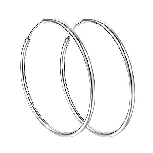 (925 Sterling Silver Round Tube Endless Hoop Earrings 40mm Women Girls)