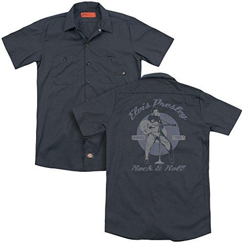 Elvis Presley Rock & Roll Adult Work Shirt Charcoal X Large