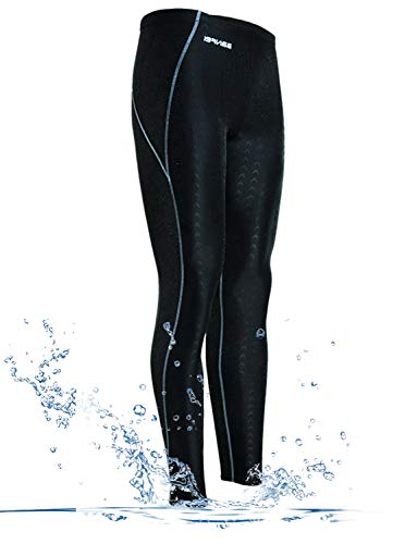 GEEK LIGHTING Womens UPF 50+ Surfing Skins Leggings Wetsuit Swim Long Pants (Black-Green, Small)