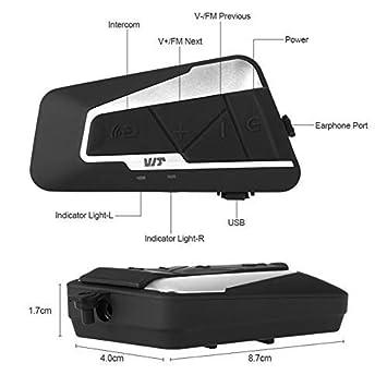 1200M// MP3// GPS//Radio FM// 350 Heures en Veille//Anti Bruit Casque//Full Duplex//Mains Libres Ski 1 Pack T9S Intercom Moto /étanche Bluetooth Casque Oreillette Interphone pour Moto V/élo Voiture