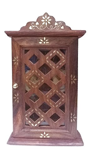 Khandekar (with Device Of K) Wooden Key Cabinet With Glass Panel Door  Checks Design
