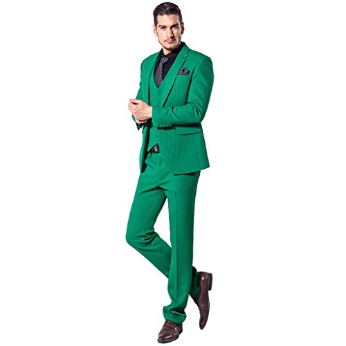 XoMoFlag Men's Wedding Photo Formal Suit One Button Tuxedo Stage Wear Green M