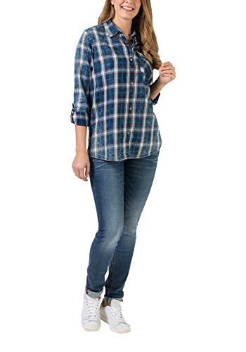 Para 3910 Check Indigo Long Blau Mujer true Timezone Shirt Camisa CS4qg