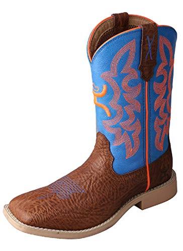 Twisted X Boys' Neon Cowboy Boot Wide Square Toe Cognac 5 D(M) US
