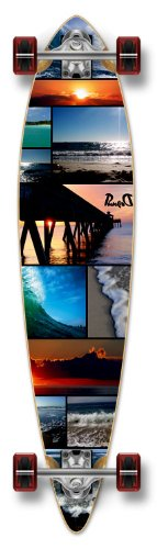 Yocaher Punked Graphic Pintail Complete Longboard Skateboard, Seaside, 40 x 9-Inch