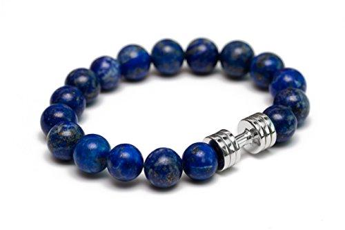 Lapis Lazuli Dumbbell bracelet Rhodium plated Fitness Gym Jewelry beaded bracelet