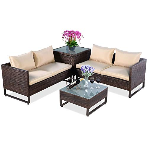 Tangkula 4PCS Patio Furniture Set Outdoor Backyard Garden Lawn Sectional Wicker Rattan Sofa Set Cushioned Seat with Storage Conversation Set (Brown)