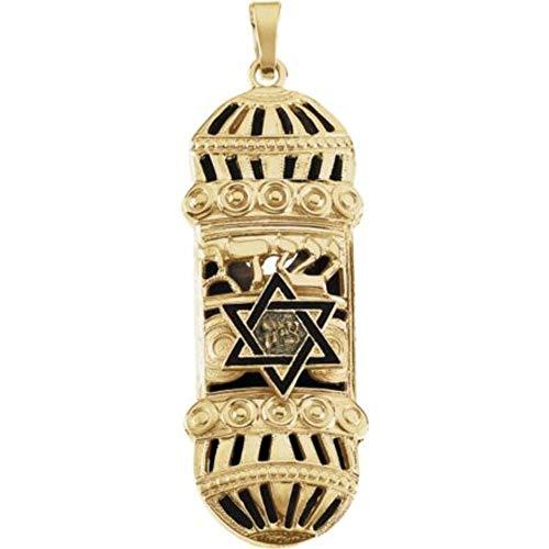 ellow Gold 37x13mm Mezuzah Pendant with Blue & White Enamel ()