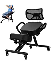 Kneeling Chair for Standing Desk, Ergonomic Kneeling Chair with Back Support for Home and Office for Bad Backs, Neck Pain, Spine & Shoulders Tension