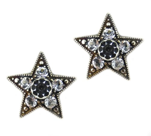 Icon Sterling Silver Post Earrings (Mariana Silver Plated Star Crystal Post Earrings in Clear Crystal)