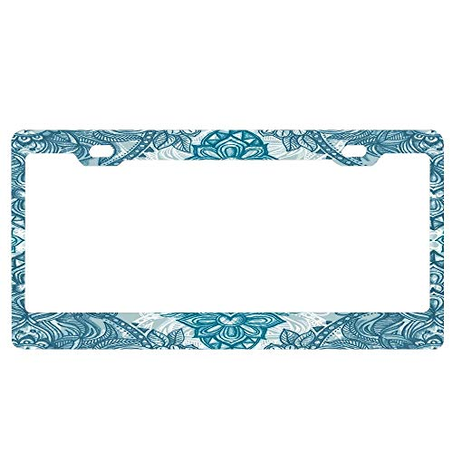 ASUIframeNJK Teal & White Lace Pencil Doodle License Plate Frame Glitter Waterproof License Plate Covers Cute Car Tag Frame