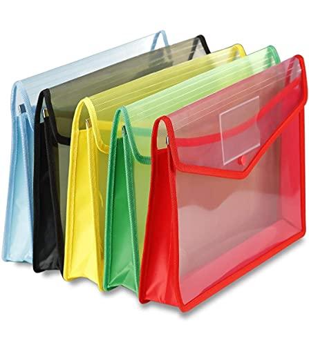 MADHAV -Pack of 5- Envelope Folder, Transparent Poly-Plastic A4 Documents File Storage Bag with Snap Button | Certificate File Holder | Document Folder for Certificates | Legal Bag for Documents (Multicolor)